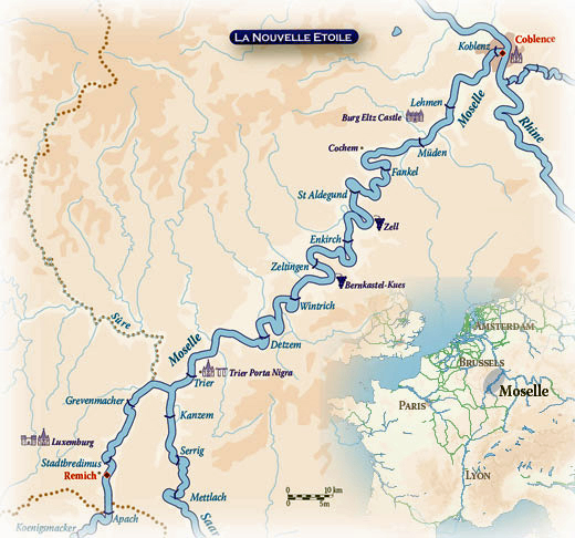 Map Of Germany And Luxembourg.Hotel Barge La Nouvelle Etoile Germany Luxembourg Cruise