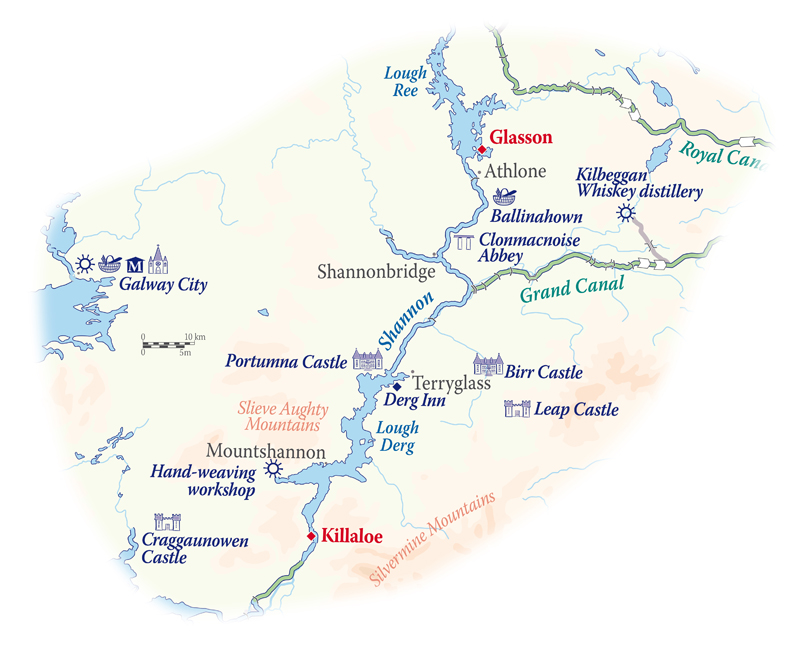 Map Of Shannon Ireland.Irish Hotel Barge Shannon Princess Itineraries Barging In